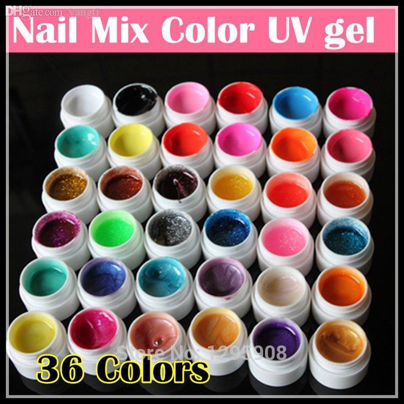 Commercio all'ingrosso-Professionale New 36 Mix Colors Nail Art Gel UV Puro + Glitter Polvere + Shimmer Colorful Nail Gel Gel UV Set, 5G / Bottiglia