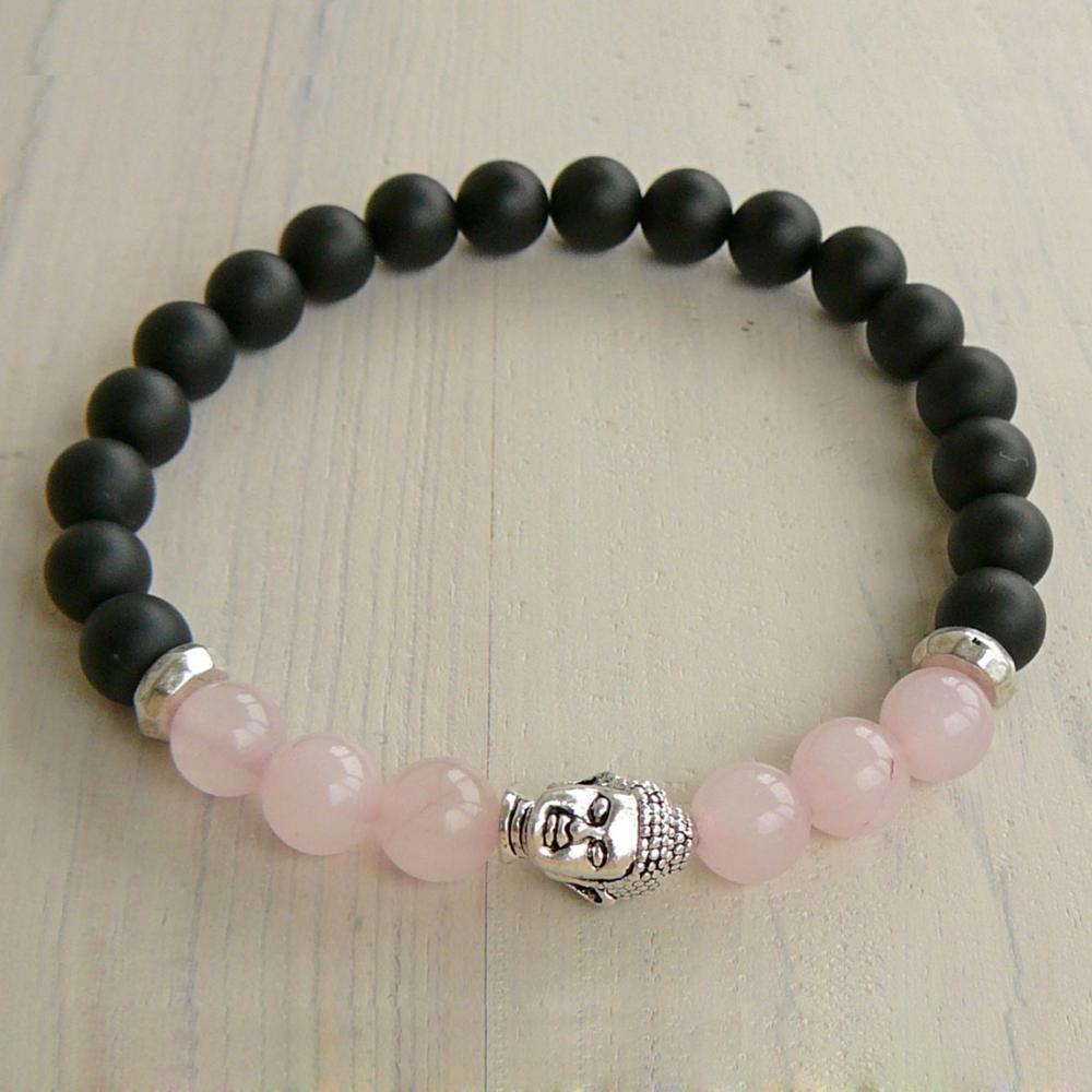 SN0239 Boeddha armband rose quartz armband zwart onyx natuursteen armband stretch armband mode vrouwen armband yoga armband