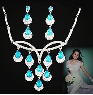 더 많은 컬러 다이아몬드 상품 나무 결혼식 신부 세트 목걸이 earings () xxscj2)