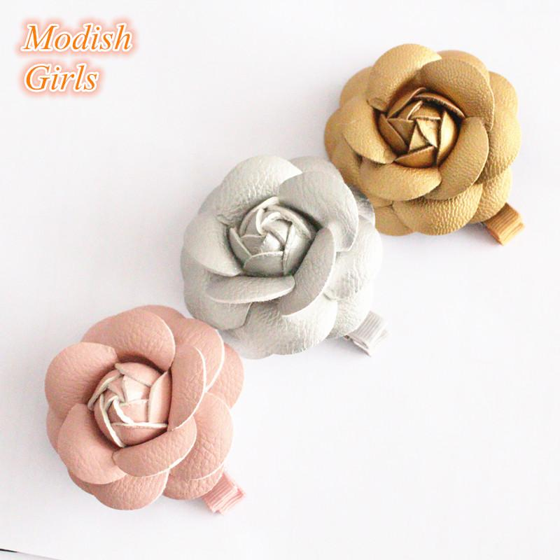 Artificial Leather Flower Design Gold Hair Accessories Kids Barrettes Famous Pink Rose Floral Hair Clips PU Leather Hairpins