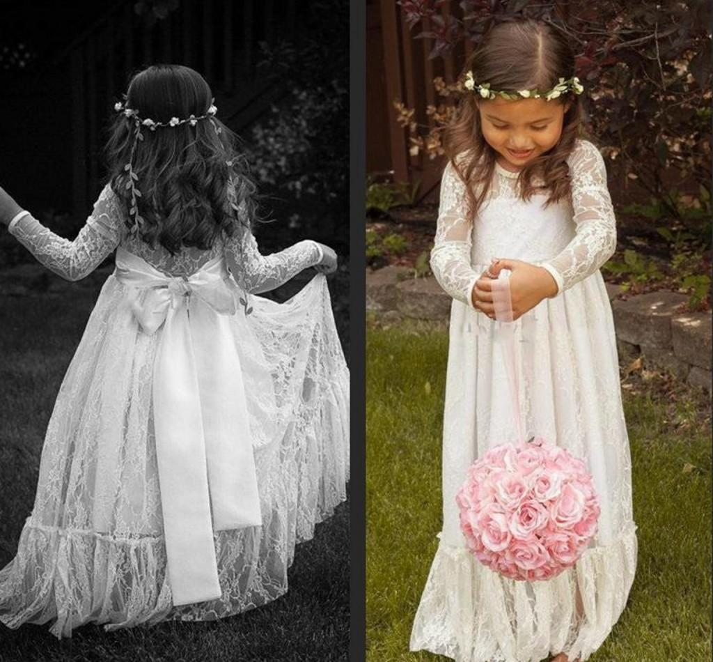 Long Sleeve Flower Girl Dresses Ruffled Lace Handmade Vintage Formal Gowns Princess Special Pregnant Dress