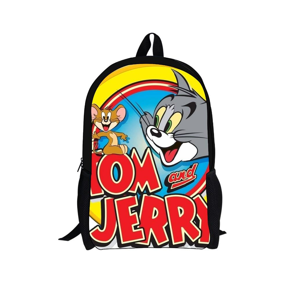 2015 new 16 inch cartoon tom and jerry children backpack student school bags cool school mochila - Cartoon For Toddlers Free Online