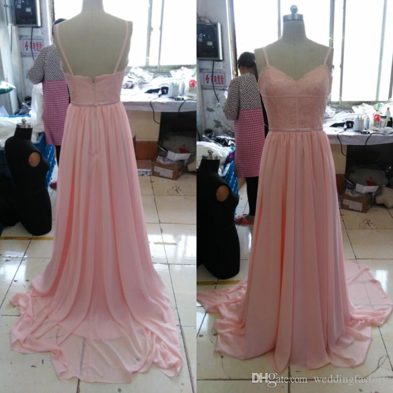 Real Picture Blush Pink Bridesmaid Dresses Spaghetti Straps Lace Chiffon Land Brudtärna Klänning Lång Formell Bröllop Gästformulär