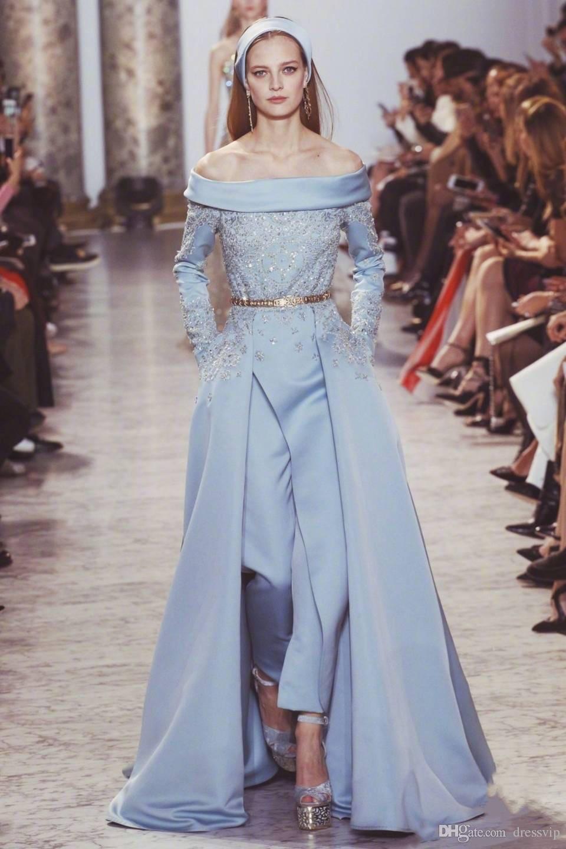 Großhandel Elie Saab Abendkleider Overall Aus Der Schulter Satin Blau  Langarm Abendkleid Sweep Zug Perlen Roter Teppich Tragen Formale Kleid  Party Von