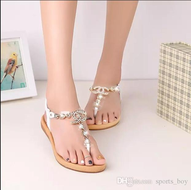da4c98695430 summer styles women sandals 2015 female channel rhinestone comfortable flats  flip gladiator sandals party wedding shoes