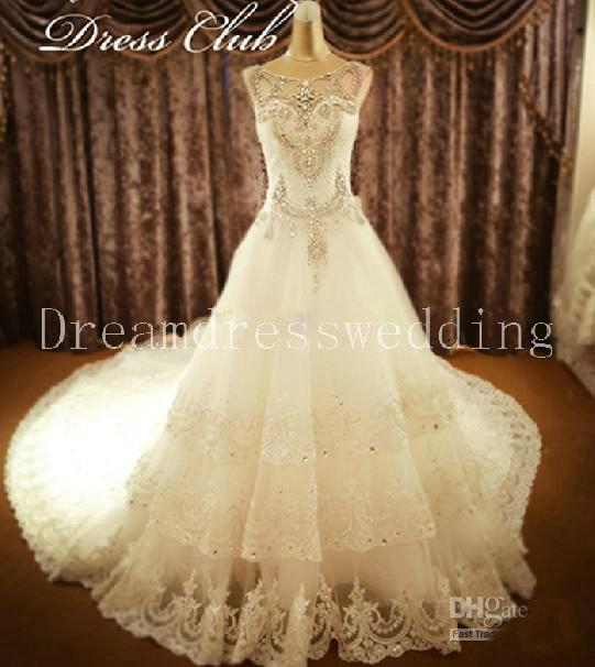 Discount Luxurious Custom Made Plus Size Wedding Dresses White Lace ...
