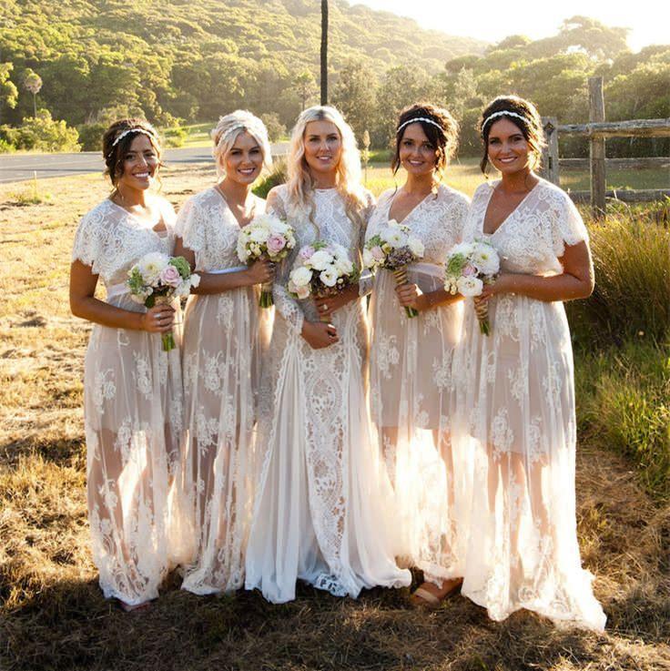 Vestidos de dama de honor de encaje bohemio largo vestido formal personalizado a medida de tamaño grande fiesta de bodas vestido de baile en v cuello sexy ver a través de la falda