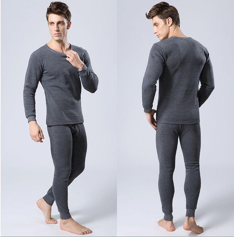 Atacado- Mens inverno quente roupa interior térmica Mens Long Johns Sexy Preto Underwear térmica Define espessura além de veludo Long Johns For Man