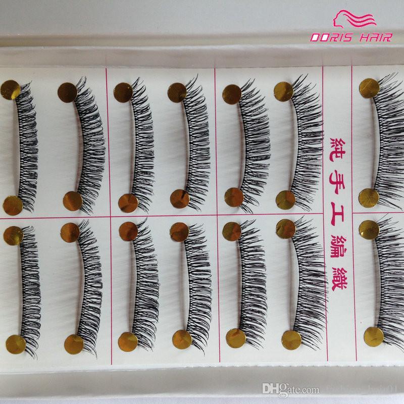 Hot Vendas Handmade cílios postiços (10 pares em um SET) Natural ou grossa Falso pestana Faixa completa Falso Lashes Maquiagem Tool