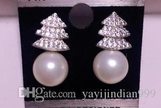 Volle Diamanten hochwertiges Kristall-Perle Silber 925 tasslel Ohrringe bbfeuy