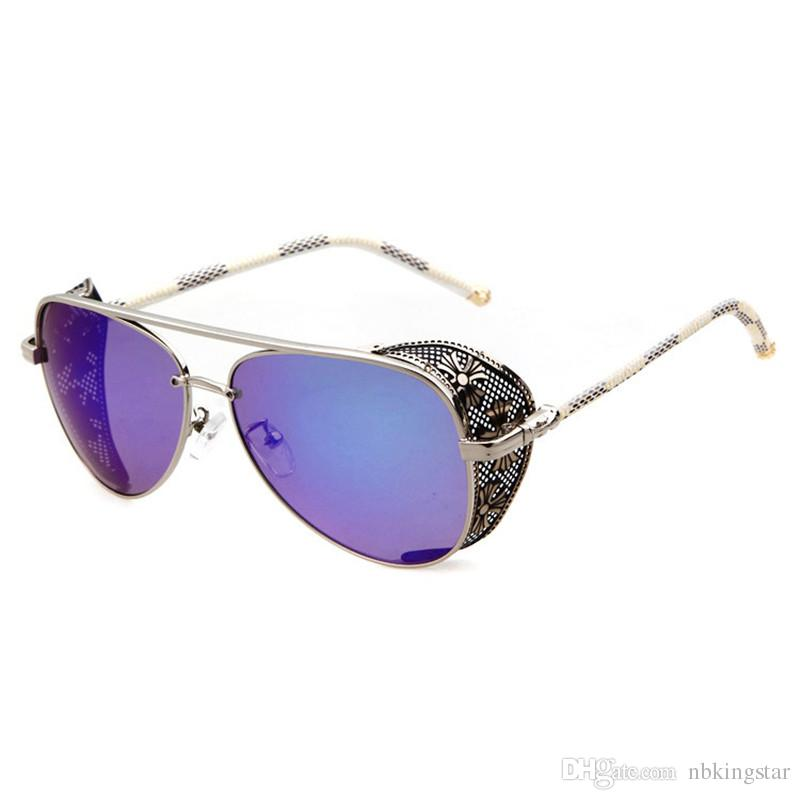 Nieuwe Vintage Coating Ronde Zonnebril Steampunk Goggles Glazen Zonnebril Vrouwen Men Spiegel Retro Design Ronde Goggles Zonnebril 6 Kleuren