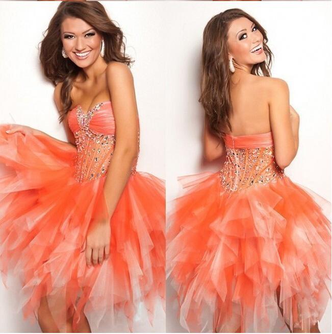 Na sprzedaż najlepiej sprzedający się zroszony Sheer Tulle Mini Wzburzyć Pomarańczowe Suknie Godzina Formalne Dziewczyny Party Suknia Tania Krótka sukienka
