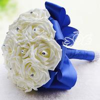 Elegant Rose Artificial Bridal Flowers Bride Bouquet Wedding Bouquet Crystal Royal Blue Silk Ribbon 2015 New Buque De Noiva