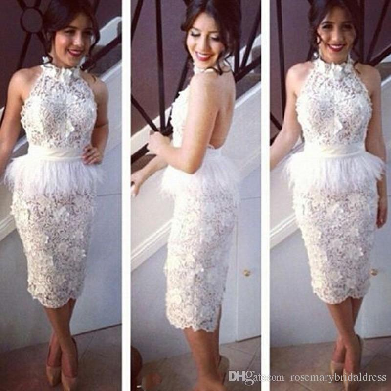 2016 Fashion White Lace Short Wedding Party Dresses Brides Reception Gowns Knee Length Halter Sexy Open Back Furs Sheath Party Gowns Prom Dress Shop