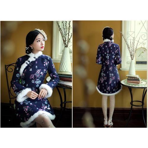 2015 Novo Inverno Mulheres Vento Nacional de pele de Coelho Decoração de Moda Cheongsam Vestidos Chinês Vestido Traje S-XL tamanho