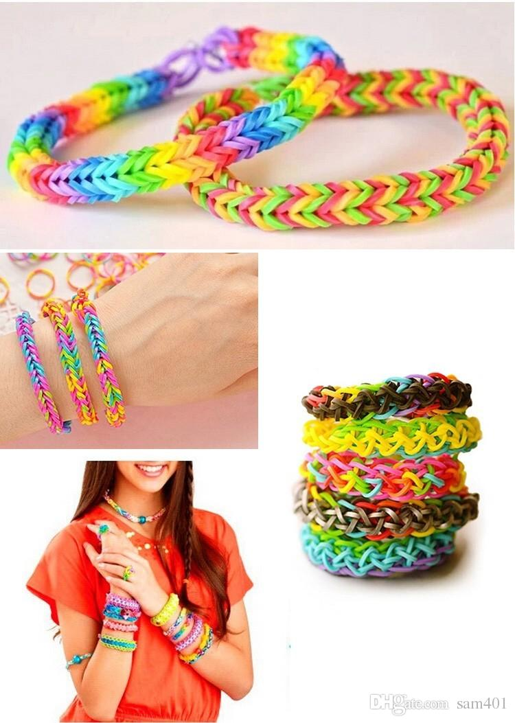 making pcs colorful kit random knitting style bands clips hook colors of band rainbow loom crochet s bracelet instruction charms rubber bags