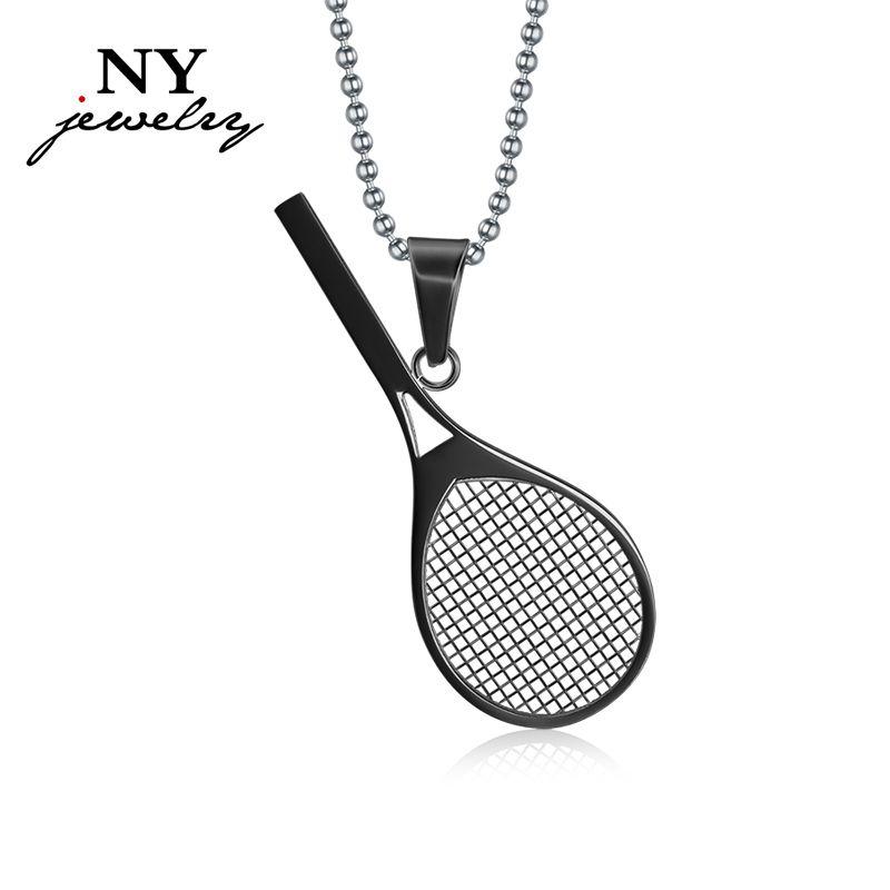 Симпатичные теннисные ракетки ожерелье кулон спортивные ювелирные изделия из нержавеющей стали подарки для мужчин женщин
