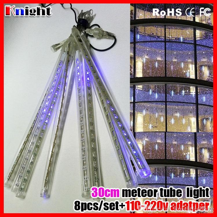 wholesale 50cm 240lams meteor shower set christmas lights blue led rain lights,30cm meteor tubes 144 led,Meteor Shower snow fall tube lights