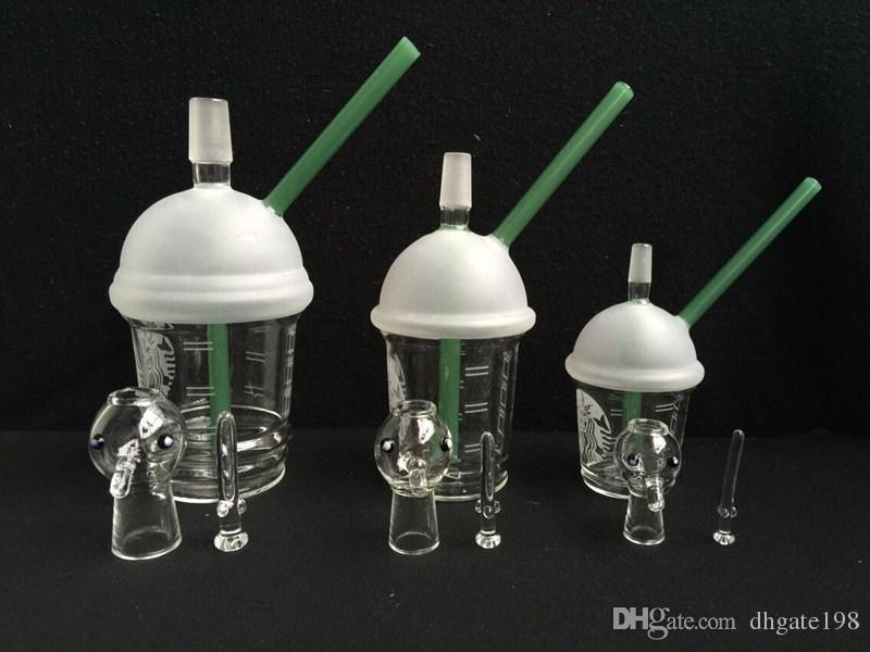 9mm / 14.5mm / 18.8mm Starbuck Cup Forma Tubulação De Água Starbuck Hookahs Concentrado Oil Rig Cúpula De Vidro com Prego Pipe Bongs de Água
