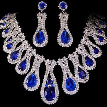 blue*white diamond waterdrop lady's bride wedding set necklace(38+3cm) earings(6.2.3cm) (woniu152)
