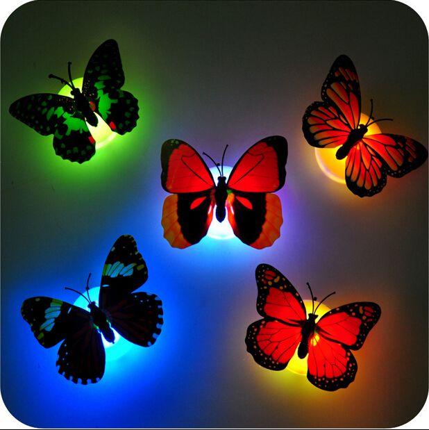 ملون فراشة الجدار LED مصباح الليل الألياف البصرية الفراشة ليلة الخفيفة LED غرفة الديكور مع شفط الوسادة ديكور عيد الميلاد CYA2