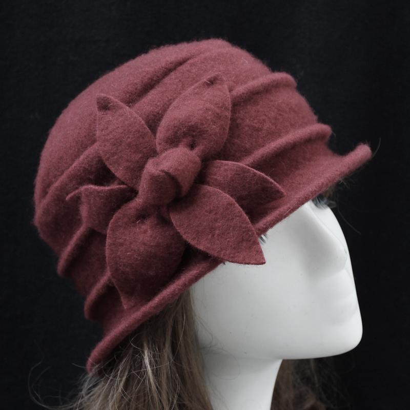 Kadınlar Için 100% Yün Cloche Şapka Çiçek Desgin Kova Kap Kasketleri 7 Renkler Mevcut Ücretsiz Kargo