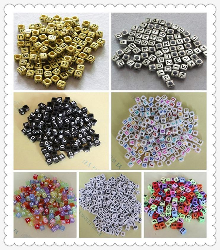 Wholesale!100-500pc Mixed Alphabet//Letter Acrylic Cube Beads 6x6mm Choose color