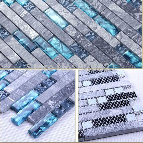 Großhandel Blue Shell Glass Gemischt Grau Stein Mosaik Fliesen Für Küche  Badezimmer Dusche Tv Backsplash Home Decor Luxury Wall Paper Großhandel Von  ...