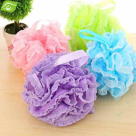 2 قطعة / الوحدة لون الحلوى الجسم غسل حمام الكرة حمام كبير الإسفنج قطرها 18 سنتيمتر حمام زهرة شبكة حمام ، الهندباء