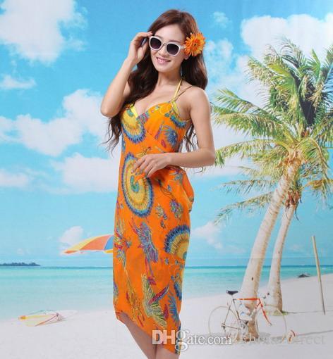 Yeni varış Çiçek plaj elbise Kapak-Ups Mayo giyim Bikini Peçe şal etek Wrap Sarong Seksi 20 adet / grup # 3831