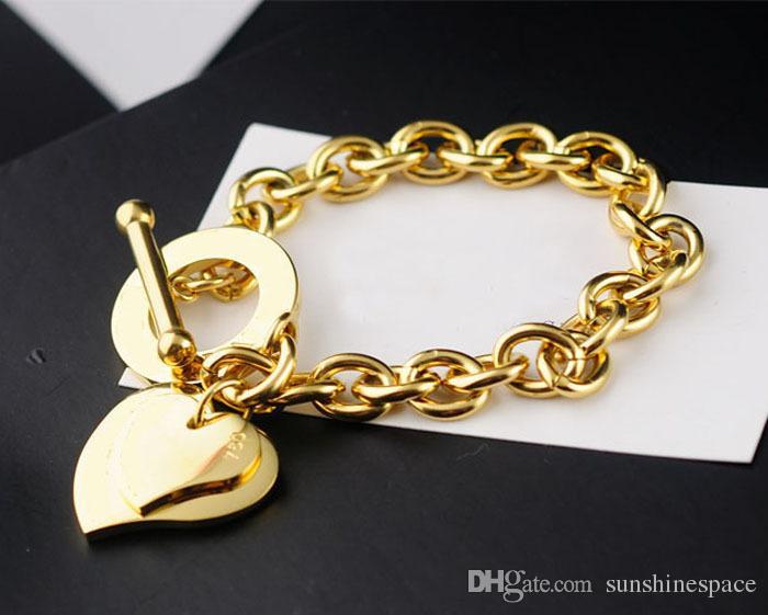 Marca de Moda de Plata / Chapado En Oro Corazón Colgante de Pulsera de Las Mujeres Stainess Steel OT Hebilla de Accesorios de Joyería Del Partido