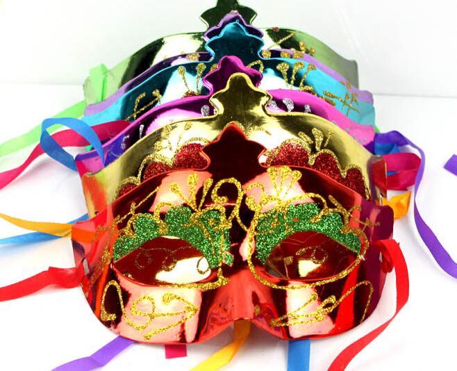 2014 venda quente mix cor 100 pçs / lote máscara de paintball ouro brilhando chapeado partido máscaras darth vader adereços masquerade mardi gras máscara