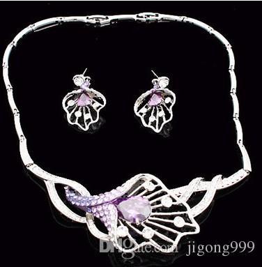 more color crystal speaker wedding bride jewerly set necklace(36+4cm) earings (4.5*2cm) (400-cn )