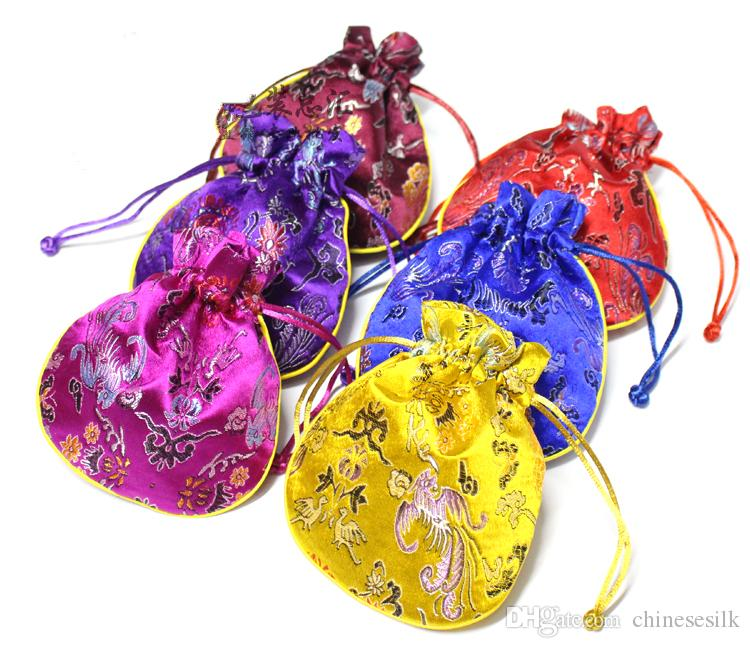 Dragon phoenix patterns Small Gift bag Jewelry Trinket Candy Tea Lavender Packaging Pouch Drawstring Chinese Silk Brocade Pocket 50pcs/lot