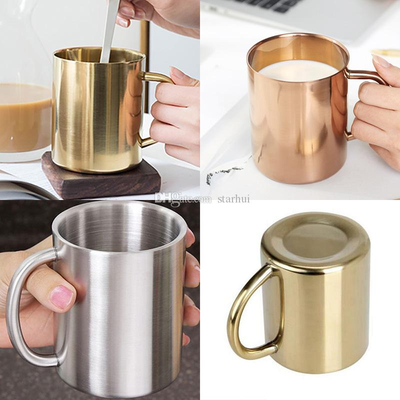 Yeni Paslanmaz Çelik Kahve Fincanları Bakır Kaplama Kupalar Kokteyl Bar Bira Drinkware Su Bardağı Bardak Şarap Cam 3 Renk WX9-118