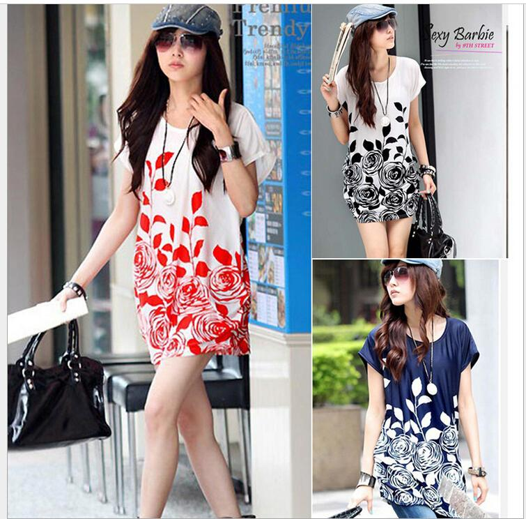 2015 Batwing Chiffon Blouse For Women Beautiful Flowers Printed s Ladies' Plus Size Tops/Tees