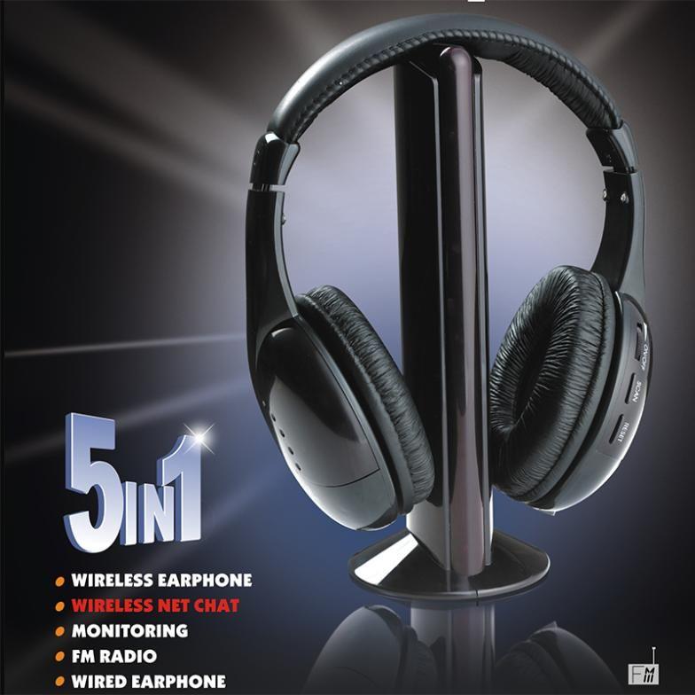 Новые 5 в 1 наушнике наушника HiFi беспроволочного наушника FM радиотелефона MP3 ПК TV тональнозвуковые мобильные телефоны Свободная оптовая продажа перевозкы груза