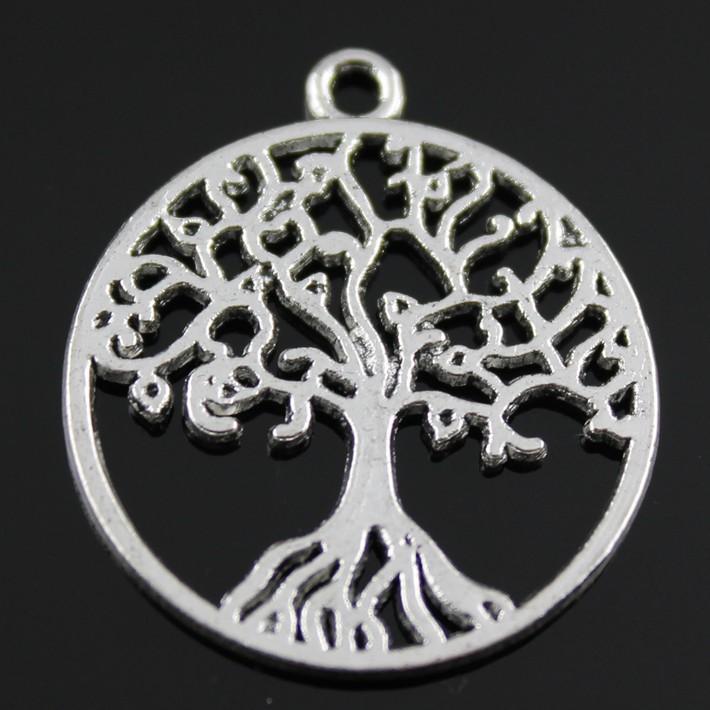 100 adet / grup 25mm 2 renkler antik gümüş, antik bronz kaplama hayat ağacı çekicilik DIY için el yapımı