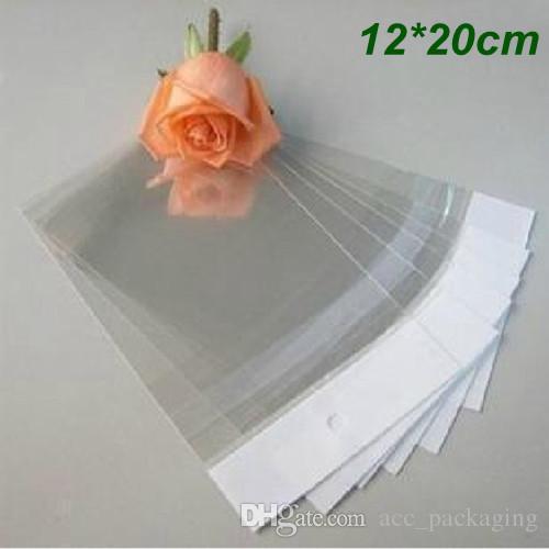 12 * 20 centimetri autoadesivo sacchetto di plastica trasparente OPP poli sacchetto sacchetto appendere foro regalo imballaggio sacchetti di imballaggio per l'artigianato ornamenti gioielli anelli orecchini