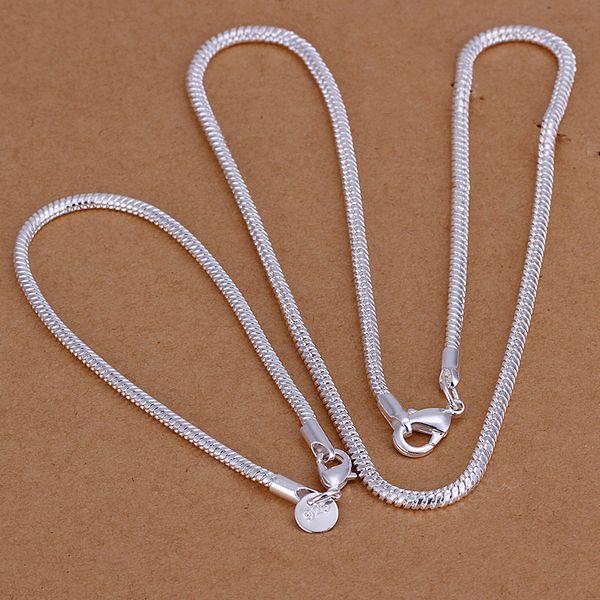 """عالية الجودة 925 الفضة الاسترليني """"3MM ثعبان العظام سلسلة قطعة - رجال مجموعة مجوهرات DFMSS076 العلامة التجارية الجديدة المصنع مباشرة قلادة فضية 925 سوار"""
