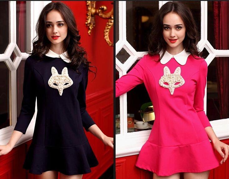 봄 가을 새로운 여성 패션 폴로 넥 드레스 드레스 숙녀 섹시한 7 포인트 슬리브베이스 스커트 소녀 러블리 폭스 Falbala 복장 복장