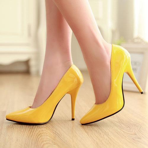 Enmayer Renkler Kadınlar Stiletto Yüksek Topuk Ayakkabı Sivri Burun Seksi Düğün Moda Seksi Platformu Topuklu Ayakkabı Pompaları Büyük Boy 34-44