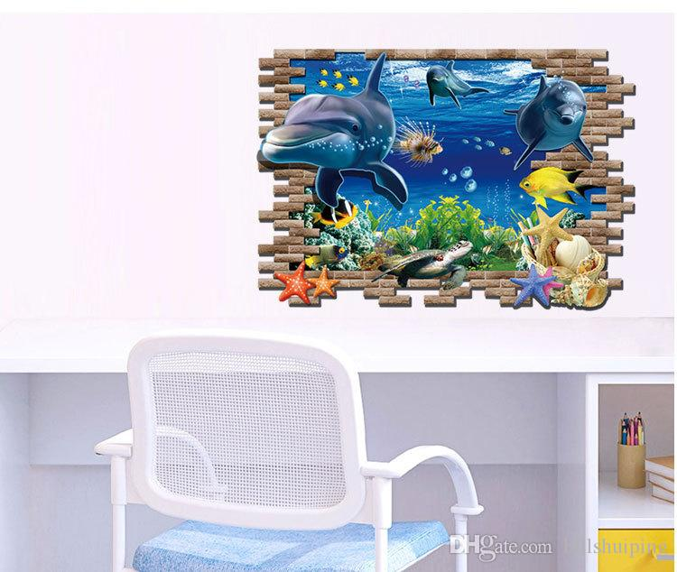 ... Finding Nemo 3D Ocean Shark Cartoon PVC Underwater World Wall Stickers  Wholesale Fashion Creative Personality Wall ...
