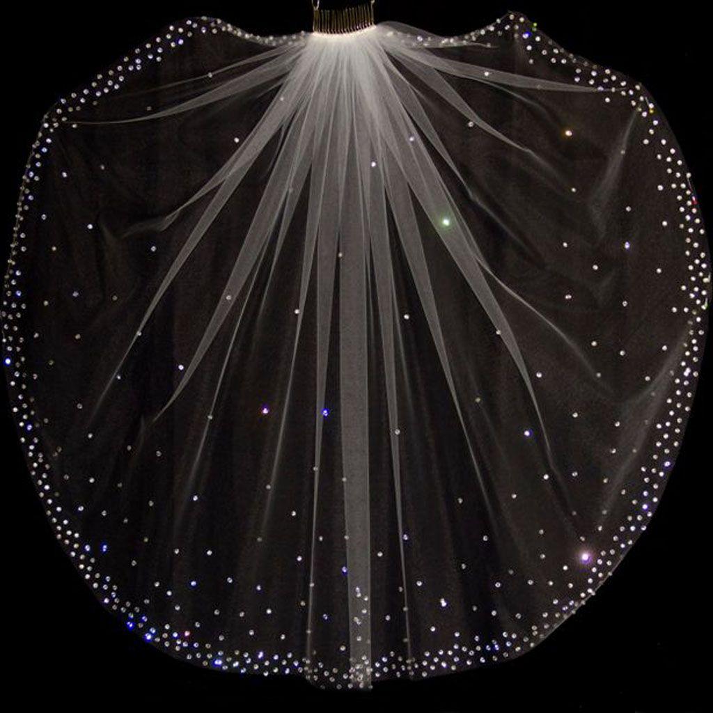 Charming Glitter Brautschleier Kopfschmuck eine Schicht kurze Kristalle Perlen Bräute Shinny Tüll für Hochzeitsfeier