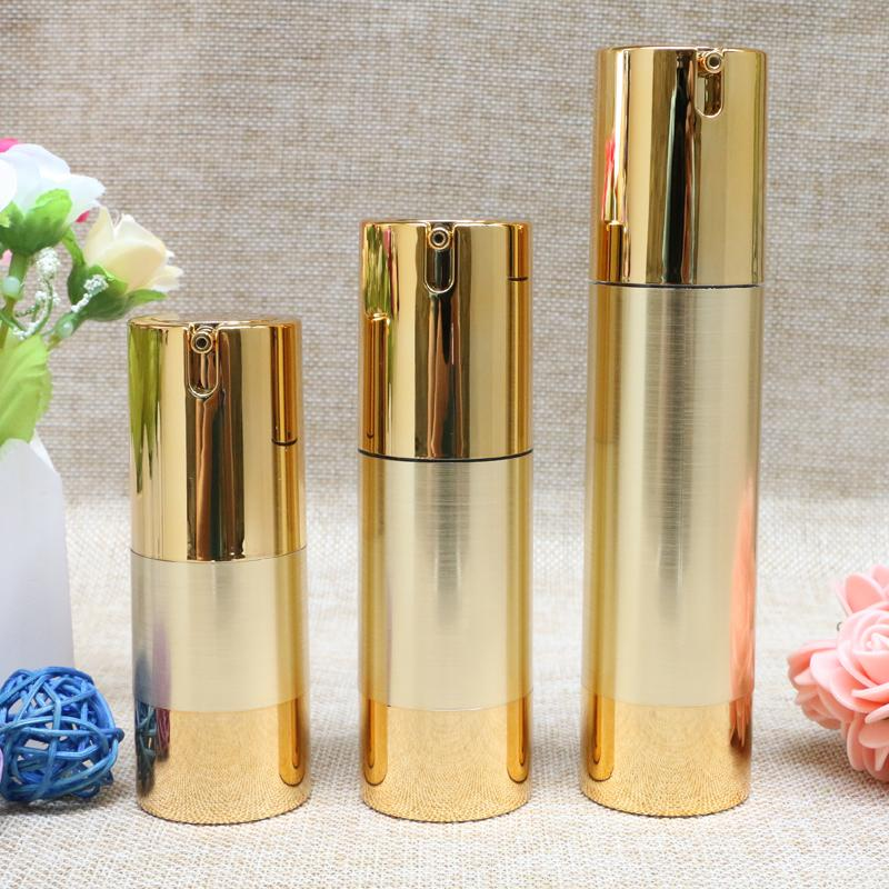 15ml 30ml 50ml Gold Top Quality Airless Vacuum Bottle Empty Cosmetic Containers Packaging for Liquid Makeup 10pcs