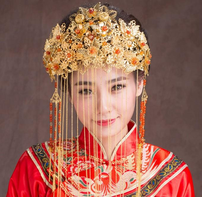 Chinese Style Wedding Bridal Headpieces Party Ancient Tiara Vintage Classic Fashion Pageant Headband Crowns Hair Accessories Jewelry Gold