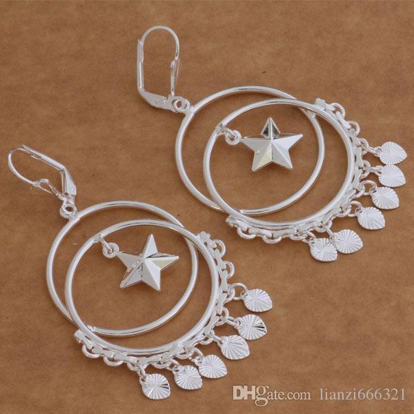 Moda (Takı Üreticisi) 20 adet çok daire asılı kalp küpe 925 ayar gümüş takı fabrika fiyat Moda Parlatıcı Küpe