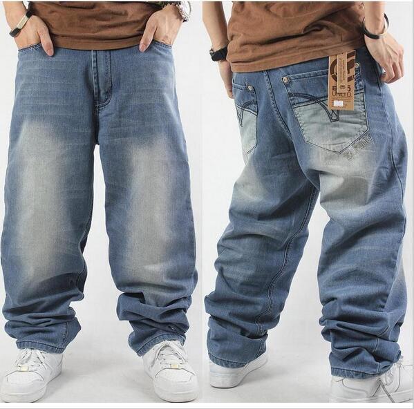 Compre Ruas Maré Homem Solta Calça Jeans Hiphop Ganga Skate Calças Largas  Calças Jeans Hip Hop Rap Ad Homens Calças De Brim 4 Estações De Grande  Porte 30 46 ... 9272da7bc7b
