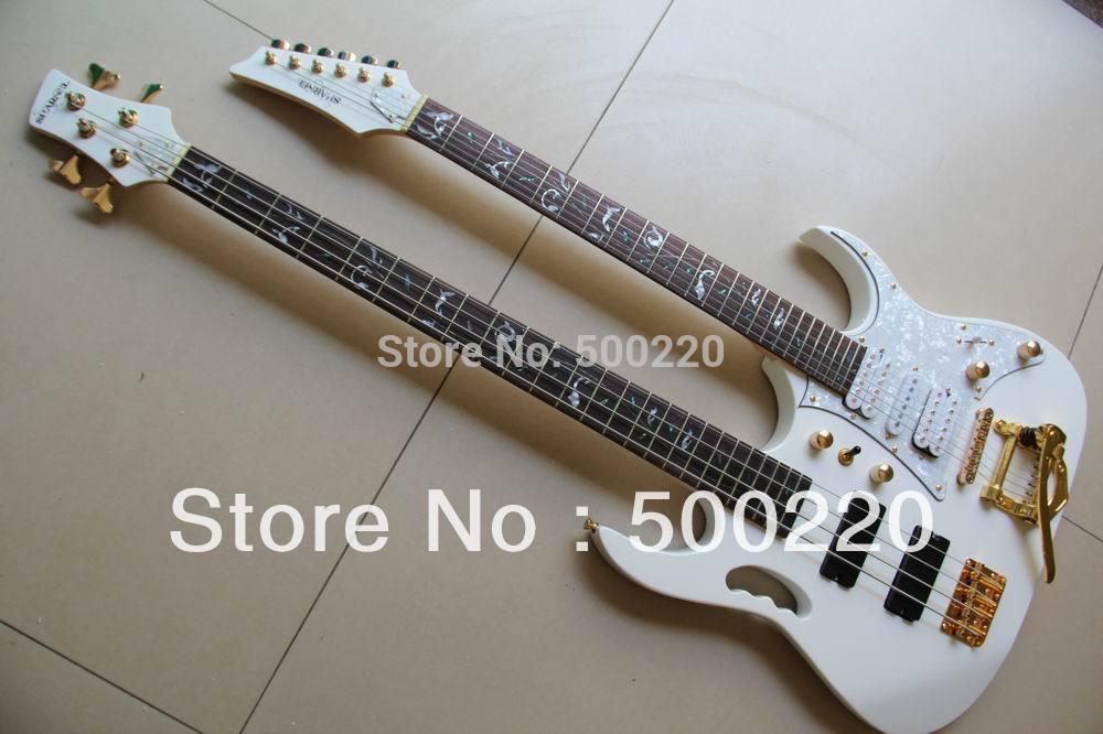 Venda por atacado - Branco 7 Modelo duplo pescoço guitarra elétrica 6 cordas guitarra 4 corda elétrica BASS 130501