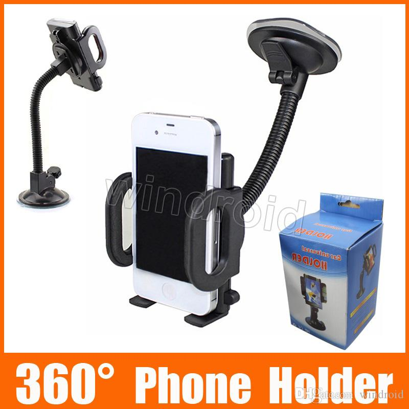 For Iphone 7 Universal Car Holder 360 degree rotation car Holder For Smart Phone PDS GPS Camera Recoder With Retail Package Free DHL 50pcs